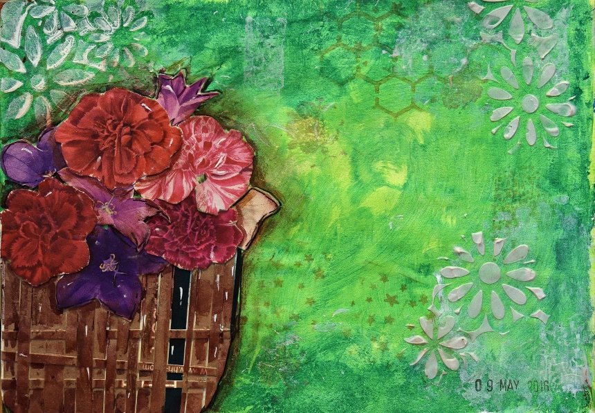 Art Journal Flower Basket 1