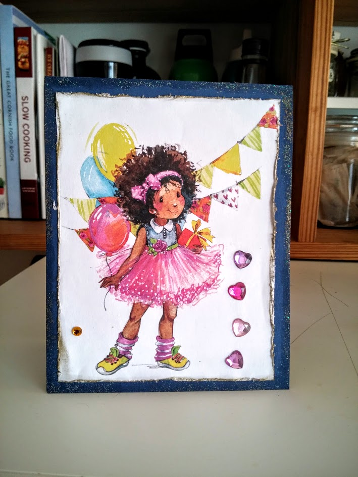 Birthday Cards with digital stamps girl